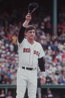 Yastrzemski saluted fans who turned out to thank him for his 23 seasons of service.